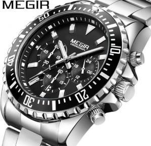 China MEGIR Fashion Men  Multifunction Chronograph Steel Strap Calendar 3 ATM Waterproof Sport Wrist Watches 2064G wholesale