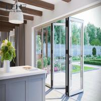 China Outdoor Accordion Powder Coated Aluminium Bifold Doors Clear Tempered Glass on sale