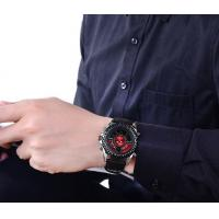Quality Wholesale Fashion Men Genuine Leather Band Dual Time Chronograph Multifunction Casual Wrist Watches 1369 for sale