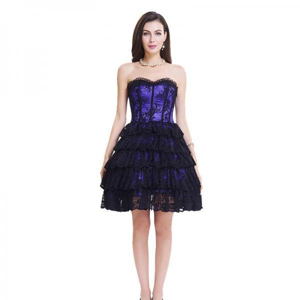 Custom Purple Lace Steel Bone Corset Dress front