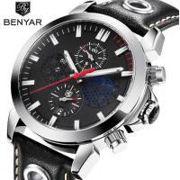 China Wholesale BENYAR Men Genuine Leather Band Chronograph Quartz Business Casual Wrist Watches BY-5124 wholesale
