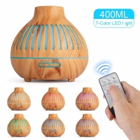 China 400ML 7 color LED light wood grain hollow remote control aromatherapy humidifier office air on sale