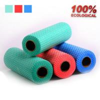 China Viscose and Polyester Spunlace Non Woven Fabric Rags Roll for Table / Glass on sale