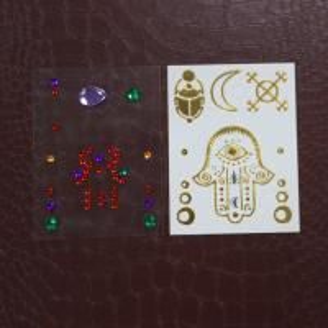 Temporary Henna Design Rhinestone Tattoo Stickers , Face Jewels And Rhinestones