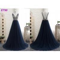 China V neckline backless straps beading A line dark bule tulle evening dress wholesale
