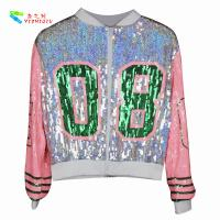 Buy cheap Casual Silver Pink Womens Sequin Clothing Zip Up Bomber Jacket Free Size from wholesalers