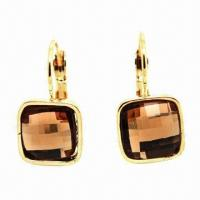 China 14K Gold Drop Earrings with Swarovski Crystal, SV925 Stamped Hoop French Clip wholesale