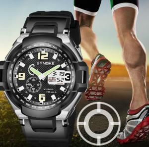 China Wholesale Synoke Dual Time PU Band Waterproof 50m Alarm Multifunction Chronograph Outdoor  Sport Wrist Watch 67606 wholesale