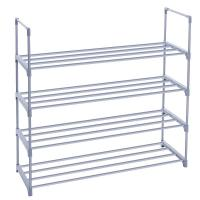 China Adjustable 4 Tier Shoe Storage Rack Shelf With Big Space Metal Shelving Unit wholesale