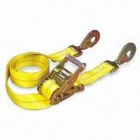 China Yellow Polyester Ratchet Tie Down, Available with Snap Hook wholesale