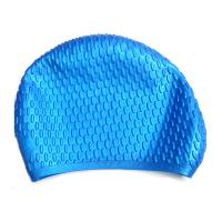 China Blue Waterproof Silicone Swim Caps For Adults Customized Logo Printing wholesale