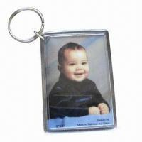 China Promotional keychains, made of eco-friendly acrylic/plastic, various shapes and sizes are available wholesale