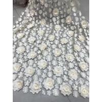 China 3D Embroidered Flower Beaded Wedding Gown Lace Fabric Anti-static Fashion wholesale