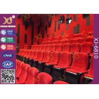 China Fabric Upholstered Folding Theater Seats Returning Seat By Gravity No Noise wholesale