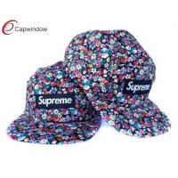 China Youth Cotton Floral 5 Panel Camper Cap Flat Brimmed Baseball Hats wholesale