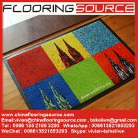 China Nylon fabric rubber back commercial entrance logo mat carpet printed welcome doormat wholesale