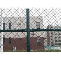 China 6 x 12 FT Green Chain Link Fence For Sports Court 4.0 MM Diamond Mesh Fence wholesale