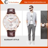 China Trendy Watch for Business Man Sport Wristwatches Men Stainless Steel Genuine Leather Watch wholesale