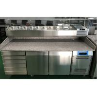 China 2 Door and 6 Drawer Commercial Refrigerated Pizza Prep Table With Marble Table Top on sale