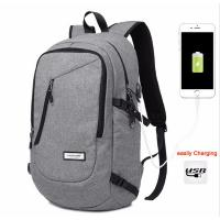 China Unisex Daily Use College Student Backpack Light Weight Cotton Fabric In Black / Grey wholesale
