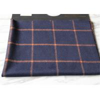 China Business Casual Style Plaid Tartan Fabric , Dark Blue Tartan Fabric Wool With Orange Line on sale