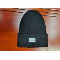 China warm black wool or cotton customize woven label inner tape printing knitted boonies hats for winter wholesale