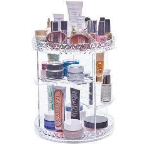 China Plus size 360-degree rotating adjustable multi-function makeup storage organizer large capacity cosmetic storage rack wholesale