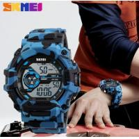 China Skmei Shock and Water Resist Chrono Multifunction Men PU Strap Sport Camouflage Blue Wrist Watches 1233 wholesale