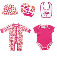 China Spring Knitted Printed 5 Pieces Baby Born Clothes Set For Gift , Custom Made wholesale