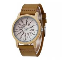 Wholesale Fashion Genuine Leather Strap Wood Case Quartz Lovers Wrist Watches 5001