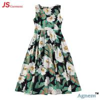 China 89D18024 New Design Fashion Casual Beach Floral Round Sleeveless Midi Women Dress wholesale