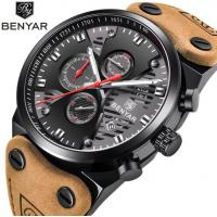 China Benyar Men Fashion Genuine Leather Band Hollowed Dial Waterproof 30m Chronograph Quartz Watch BY-5110 wholesale