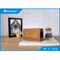 China Mini Fashion Wooden Alarm Clock Radio With Temperature , 50-16KHZ Frequency wholesale