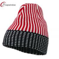 China Red USA Stars and Stripes Ski Winter Hats Acrylic Warm Kitted For Unisex wholesale