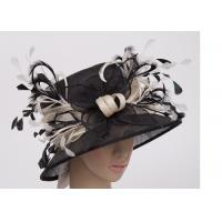China 8cm Brim Ladies Sinamay Hats With Black White Feather , Ladies Church Hats wholesale