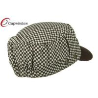 Quality Brown Checker Crown Military Baseball Hats , Soft Pure Cotton Army Baseball Caps for sale
