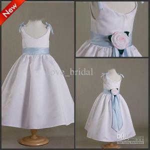 China CUSTOM Made Cute White Ankle Length A-line Flower Girls Wedding Dress Pageant Dress wholesale