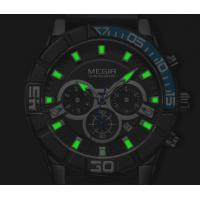 Quality Wholesale OEM Retail Megir Men Multifunction Chronograph Date Big Dial Casual  Genuine Leather Band Sport  Watch 2066G for sale