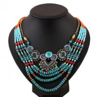 China 2015 African Fashion Beach Jewelry Blue Handmade Multi layers Bead Chain Women Necklace wholesale