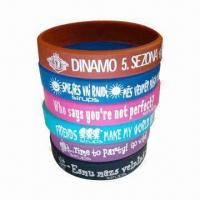 China Promotional Silicone Wristbands, Available with Embossed, Debossed or Printing Logo wholesale