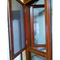 Quality Inward Opening Wood Transfer Aluminium Mesh Windows Hotel Coated Glass for sale