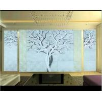 Quality Tree Shape Black Glass Background High Gloss / Interior Reeded Glass Wall Panels for sale