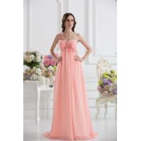 China Cheap One Shoulder Sweetheart A-line Chiffon Long Evening Party Gown With Applique wholesale