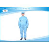 China Class C Reusable Blue Cleanroom Clothing , Anti - static Garments Food Industrial wholesale