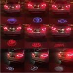 China LED Laser Tail Fog Light Auto Brake Parking Lamp Rearing Warning Light AUDI BMW VW LOGO wholesale