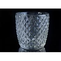 China Diamond Shape decorative candle holders Embossed glass tealight candle holders wholesale