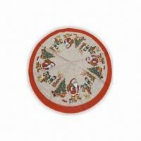 China Flax Christmas Tree Skirt, Available in Natural Color with Decoration wholesale