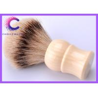China Custom Ivory handle silver tip pure bristle shaving brush for barber shop wholesale