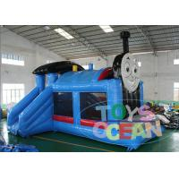 China Blue Thomas The Train Inflatable Jumping Castles With 2 Slides EN14960 wholesale