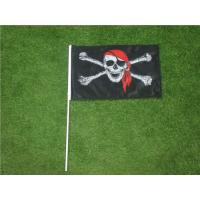 China Hand Held Custom Advertising Flag Banners With Solid Black Plastic Pole wholesale